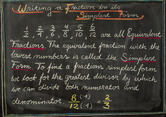 5th Grade: Math; Writing a Fraction in its Simplest Form (ArneKaiser) Tags: 5thgrade 5thgradefarewell autoimport edited mrkaisersclass pineforestschool waldorf waldorfjourney chalk chalkboard fractions math