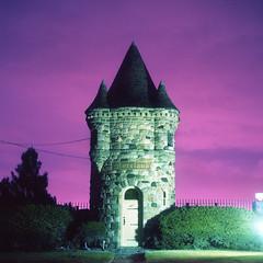 (Josh Sinn) Tags: longexposure color castle 120 6x6 film night mediumformat dark md kodak tripod maryland baltimore late 100 yashicamat124g ektar cablerelease morelandcemetery joshsinn