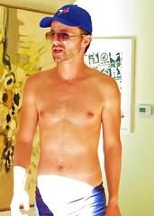 sunpool 187 (danimaniacs) Tags: shirtless man hot cute sexy guy hat handsome hunk stud hunky scruff sunpool mansolo