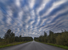 Skywaves (MilaMai) Tags: road original trees sky nature lines horizontal clouds suomi finland landscape outdoors countryside amazing interesting patterns wide dramatic bluesky tokina wires future openroad unusual finnish cloudformation longroad beautifulsky colorimage southernfinland weirdclouds endlessroad femalephotographer cloudwaves cloudpattern canon6d milamai