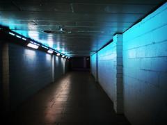 Neon lit tunnel (roberteklund) Tags: waterloo storbritannien england uk london unitedkingdom greatbritain outdoor sommar summer 2014 neon lights tunnel passage outdoors
