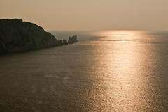The Needles (hutchyp) Tags: sunset sea lighthouse water island bay rocks needles isle wight alum