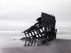 Peter Iredale (bac1967) Tags: ocean camera abandoned film beach oregon lens coast stand sand rust surf waves ship view pacific fort decay neglected stevens wave delta semi full peter shipwreck shutter 4x5 100 nautical wreck rodinal press rex development ilford graflex 135mm develop 5x4 laboratories iredale graphex semistand adonal optar f47 synchromatic