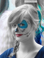 The Sugar Skull Smile (Steve Taylor (Photography)) Tags: blue red newzealand christchurch portrait woman white smile smiling fashion lady hair happy skull scary makeup canterbury sugar mexican wig nz blonde southisland ponytail scar stables muted stiches addington armaggedon