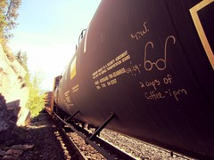 THE WATCHMAN (YardJock) Tags: railroad metal graffiti steel freighttrain rollingstock moniker benching benchreport