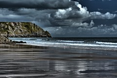 Three Cliffs Bay in HDR (Margarita K...) Tags: ocean sky cloud seascape beach swansea southwales wales clouds reflections bay three sand nikon shadows cliffs hdr d5200