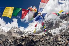 colour at base camp (markpaulandrews) Tags: nepal mountains ice trek hiking flag hike september mount everest himalayas ebc basecamp prayerflag sagarmatha kumbu 2013 markpaulandrews