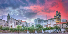 Two Towers (Carlos Castro Prez) Tags: morning blue sky panorama colors composition sunrise print poster photography photo spain violet panoramic galicia pontevedra hdr carloscastro ccp85
