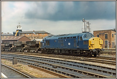 37053, Derby (Jason 87030) Tags: brblue englishelectric summer 80s 1984 1985 blue loco coco wagons hopper derby eastmiodlands lunch past railways engine locomotive growleer tractor signals railwaystation freight br england uk greatbritain light sky clouds scan 35mm print history vintage transport