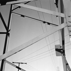 Transmission Towers I (Bion Grillart) Tags: rolleiflex rolleiflex35f ilford delta delta400 d76 kodakd76 iso400 monochrome blackandwhite blackwhite bw planar75mmf35 planar film analog tlr twinlensreflex lattice electricitypylon transmissiontower structure geometry 120 6x6 mediumformat