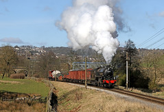 61264 at the KWVR (Andrew Edkins) Tags: 61264 b1class keighleyandworthrailway lner 30742charter preservedrailway yorkshire england uksteam railwayphotography haworth geotagged signal freighttrain sun light march wagons canon field singletrack steamtrain