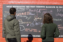Railpath opinion chalk board (jer1961) Tags: toronto railpath westtorontorailpath board chalkboard chalk messages chalkmessages crazydames