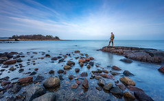 Fisherman´s Blues II (Kurt Evensen) Tags: norway longexposure bigstopper beach sea smooth leefilter le water tønsberg sky seascape rockyshore weather vestfold shore no fisherman fishing