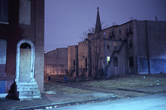 (patrickjoust) Tags: baltimore maryland abandoned house church spire steps fujicagw690 fujichromet64 6x9 medium format 120 rangefinder 90mm f35 fujinon lens fuji chrome slide e6 color reversal expired discontinued tungsten balanced film cable release tripod long exposure night after dark manual focus analog mechanical patrick joust patrickjoust md usa us united states north america estados unidos