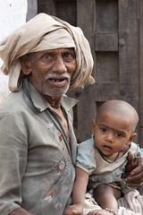 Grandfather with child (wietsej) Tags: grandfather with child kawardha chhattisgarh india tribal rural gond village sony a900 sal70200g 70200