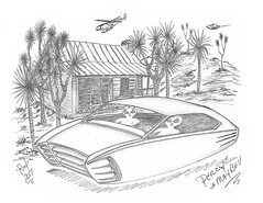 Percy & Maybell (rod1691) Tags: bw scifi alien greys concept custom retro space desert hotrod draw3ing pencil original story fantasy funny automotive art illistration greyscale moonpies