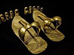 King Tutankhamun's gold sandals and toe covers New Kingdom 18th Dynasty Egypt 1332-1323 BCE (mharrsch) Tags: sandal toeguard gold pharaoh king ruler tutankhamun burial tomb funerary 18thdynasty newkingdom egypt 14thcenturybce ancient discoveryofkingtut exhibit newyork mharrsch premierexhibits
