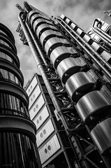 Lime & Leadenhall (ShrubMonkey (Julian Heritage)) Tags: limestreet leadenhall structure tower skyscraper building architecture urban city metropolis up london street mono bw nikon coolpix lloyds
