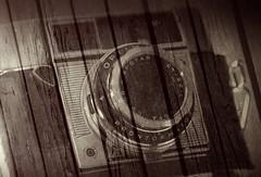 Camera on Deck (rolandmks7) Tags: sonynex5n effects digital agfa optimaiis wood deck boards layer layered sepia camera apotar