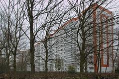 Living in a box (österreich_ungern) Tags: hochhaus platte box living ddr gdr berlin architecture concrete trees germany deutschland beton kunst am bau orange