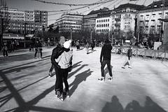 Skating (Pezti) Tags: people péturgeirkristjánsson pezti bw blackandwhite film leica leicam3 leica35mmf2leitzsummicron stockholm sweden ice prime kodaktrix400