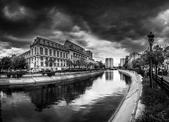 DSC09669-Pano (Adrian Mitu) Tags: dramatic mood bucuresti romania architecture built structure building exterior sky cloud outdoors travel destinations city tree no people day storm water