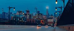 Nightfall Transit (JimmyKastner) Tags: hoboken newjersey unitedstates us newyorkcity manhattan empirestatebuilding chryslerbuilding cityscape moonscape moon newyork night