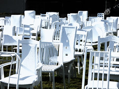 The White Chairs Memorial (Steve Taylor (Photography)) Tags: white chairs earthquake art memorial tribute chair black green contrast stark calm sad newzealand nz southisland canterbury christchurch cbd city grass rain 185 empty stool whitechairs