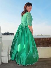 From the back (Paula Satijn) Tags: girl dress gown green skirt satin silk silky shiny ballgown gurl tgirl happy smile joy outside sky