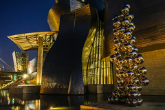 Blue hour in Bilbao (The Green Album) Tags: guggenheim museum bilbao spain twilight dusk blue hour metal architecture modern contemporary night balls city urban