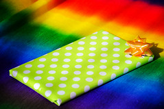 """Day 116/365 - """"Rectangle"""" (Little_squirrel) Tags: 365the2017edition 3652017 day116365 26apr17 rectangle gift present colorful bow dots rainbow birthday happybirthday celebrate surprise shadow"""