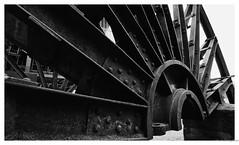 Heavy wheel (frankdorgathen) Tags: blackandwhite monochrome wideangle labour work industry abandoned outdoor ruhrgebiet essen zollverein zeche steel iron metal wheel