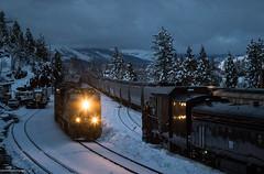 Rush Hour at Emigrant Gap (Jake Miille) Tags: unionpacific trains railroad freighttrain manifest mnprv graintrain meet emigrantgapcalifornia donnerpass donnerpassroute uprosevillesubdivision rotaries rotarysnowplows snowequipment snowplow snowfighters storm dusk nightphotography nightshot wtktkf snow winter scenic