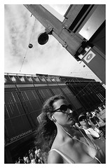Street scenes (danieltim.net) Tags: streetphotography blackandwhite film rpx100 pushprocess contrast urban streetscene inmotion decisivemoment summer sunglasses uwa europe