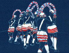 The Britannia Coconut Dancers, Bacup (larosecarmine) Tags: britannia coconut dancers bacup sketch urban drawing caroline johnson documentary art