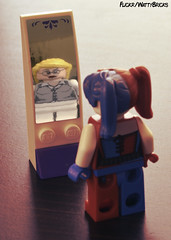 Portrait: Harley Quinn (WattyBricks) Tags: lego dc comics superheroes harley harleen quinn quinzel joker gotham batman rogues gallery suicide squad task force x mirror