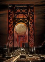 Full Moon on the Bridge (Rusty Russ) Tags: george washington bridge new york city moon light night surreal photoshop flickr google bing daum yahoo image stumbleupon facebook getty national geographic magazine creative creativity montage composite manipulation color hue saturation flickrhivemind pinterest reddit flickriver t pixelpeeper blog blogs openuniversity flic twitter alpilo commons wiki wikimedia worldskills oceannetworks ilri comflight newsroom fiveprime photoscape winners all people young photographers paysage artistic photo