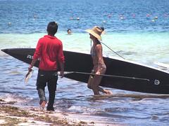 Big paddle board (thomasgorman1) Tags: beach water paddleboard sea caribbean mexico people hat woman person paddle sand