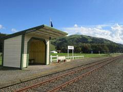 Eskdale Station (Kevin Fenaughty) Tags: outdoor station eskdale railway flag tree track hill platform shed sign fence hawkesbay newzealand