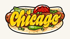 Instagram Stickers — Chicago Dog (Kyle J. Letendre) Tags: lettering instagram chicago sticker graphic design illustration hot dog chicagodog millennium park lincoln lakeview south side dimensional dimension type typography letter