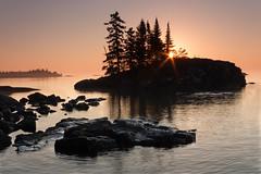 Tombolo (mjldesmoines) Tags: morning water sunrise early rocks glow northshore lakesuperior grandmarais tombolo