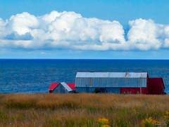 Barn by the Sea (kenmojr) Tags: ocean sea summer sky canada water nova clouds barn coast cloudy farm august atlantic coastal cape scotia maritimes breton 2014 colindale
