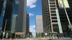 Street and Buildings in Downtown Houston, (elnina999) Tags: street city travel blue trees sky urban usa cloud cars tourism skyline architecture modern america buildings drive highway downtown texas view traffic post state cloudy outdoor district famous towers houston landmark center business metropolis finance nokialumia1020