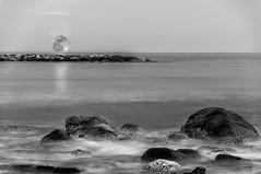 Anocheci y la luna sali. (juanjofotos) Tags: blancoynegro mar playa luna bn roca anochecer retoque marmediterrneo waitingfortherain juanjofotos juanjosales