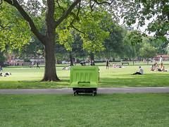 Bin Hiding (Magic Pea) Tags: park street people woman london cyclist candid streetphotography bin hackney hiding unposed quirky eastlondon londonfields