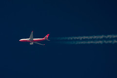 TC-TUR (jpro747) Tags: above blue sky up plane airplane contrail close aircraft aviation aeroplane aerial trail telescope airbus overhead vapour turkish a330 airliner dobsonian 2400mm