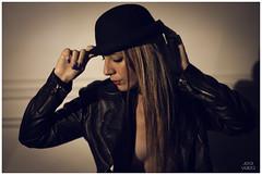 ELLA (jesivera) Tags: blue red woman sexy leather canon 50mm book mujer model shoot lips modelo sombrero cuero