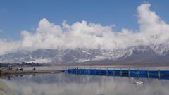 View of Dal Lake from Hazratbal Mosque (Rckr88) Tags: india mountain lake snow mountains asia dal mosque kashmir srinagar masjid dallake mountainous mountainpeak mountainsnow hazratbal hazratbalmosque