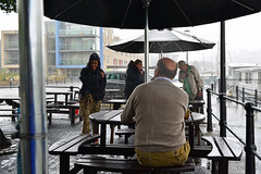 It's raining, it's pouring...... (Dafydd Penguin) Tags: street city uk england people urban wet rain weather umbrella 35mm bristol shower harbor photo nikon shot shots harbour britain candid centre floating f2 af nikkor raining thunder pouring d600