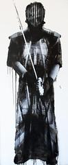 URBAN SAMURAI - METAL, 2014, 200cm x 82cm, spray can & acrylic on mdf.